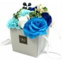 Flower Box Pachnący mydlany bukiet kwiatowy. Niebieski