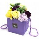 Flower Box Pachnący mydlany bukiet kwiatowy. Fioletowo-żółty